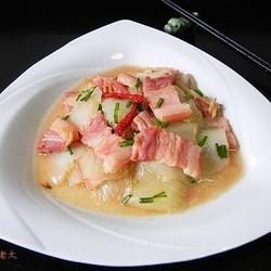 咸肉片炒白菜帮子