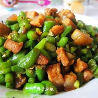 四季豆炒熟肉丁