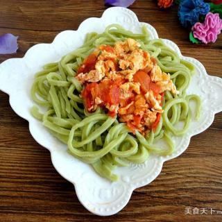菠菜汁西红柿打卤面
