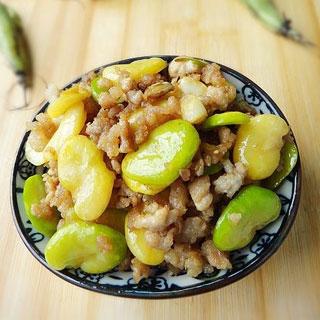 肉末炒蚕豆