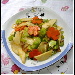 茭白炒蚕豆