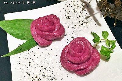紫薯花朵酒酿馒头