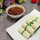 豆皮菠菜卷蘸酱