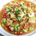 西红柿豆腐炒毛豆