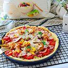 中式虾仁培根芝士披萨