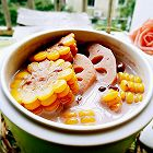 奶香玉米莲藕红豆汤