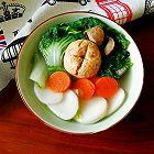 蘑菇青菜汤年糕