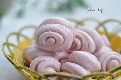 紫薯小花卷粉嫩萌萌哒