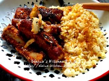 蒜香金沙骨配肉�姜蛋炒饭