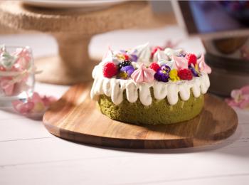 食用花抹茶戚风蛋糕