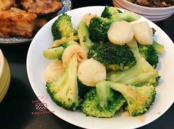 家常小菜:蒜蓉西兰花炒带子