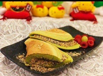 斑兰厚夹饼(花生芝麻红豆馅)