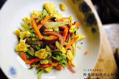 鸡蛋抄三丝(胡萝卜洋葱黄瓜)