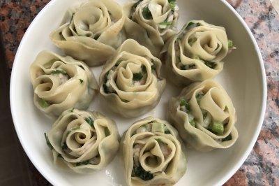 香葱鲜肉玫瑰花卷