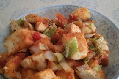 西红柿圆白菜炒馒头
