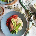 红烩三文鱼配藜麦杂粮饭