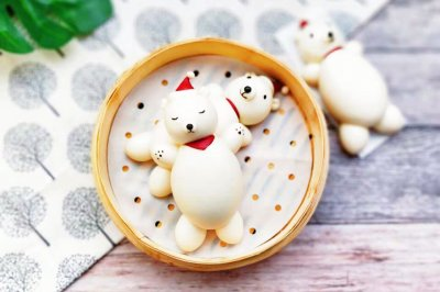 呆萌熊的圣诞节卡通北极熊馒头