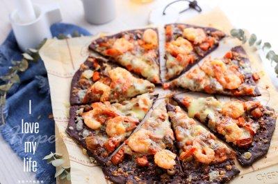 黑米鲜虾薄底披萨