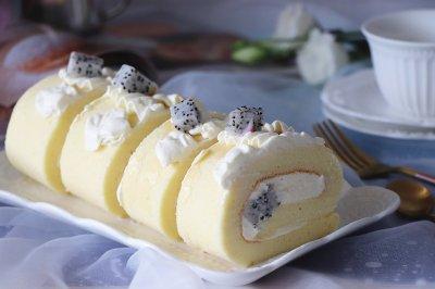 火龙果奶油蛋糕卷(后蛋法)