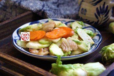 儿菜胡萝卜炒肉片
