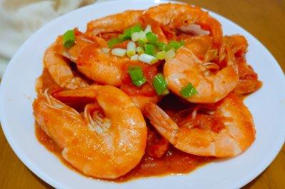 年夜饭番茄油爆虾