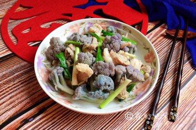 家常小炒紫花菜炒五花肉