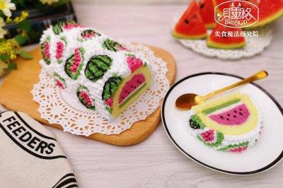 西瓜慕斯蛋糕卷彩绘蛋糕卷