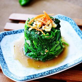 蒜泥姜茸菠菜塔