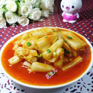 黄芽菜辣炒年糕