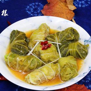 营养美味的翡翠白菜卷