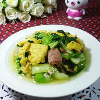 咸肉青菜炒鸡蛋