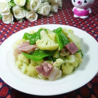 青椒咸肉炒花菜