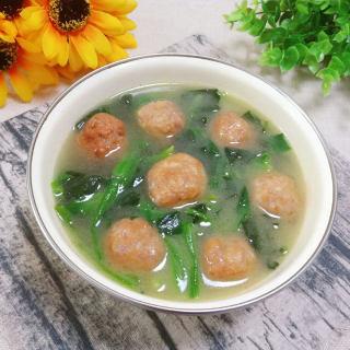 荸荠肉丸菠菜汤