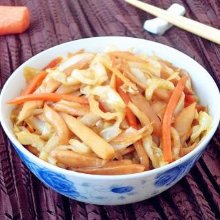 杏鲍菇炒圆白菜
