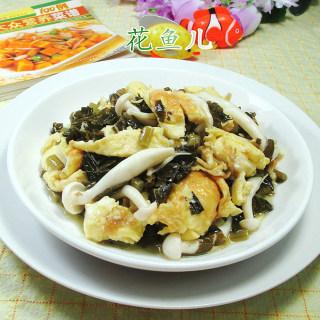 雪菜白玉菇炒鸡蛋