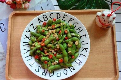 夏日开胃小菜小米椒蒜泥拌毛豆