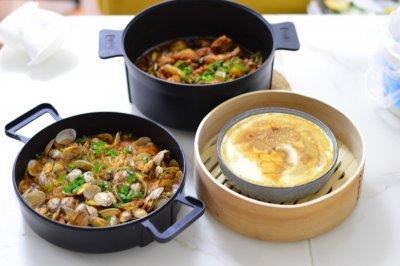 大盘鸡+蒸鸡蛋+炒花蛤