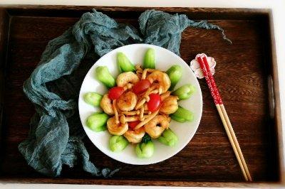 蘑菇虾仁青菜小炒