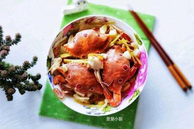 姜蒜蒸三眼蟹