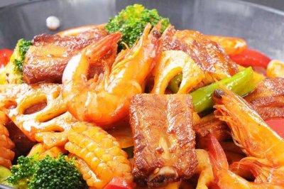 麻辣香锅香烤猪排大虾