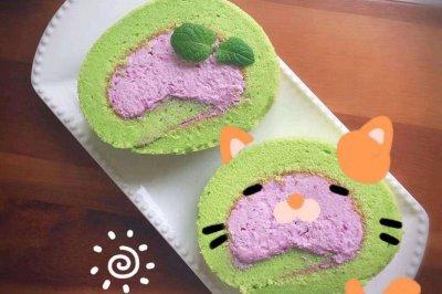 菠菜紫薯蛋糕卷
