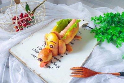 创意可爱的热狗面包