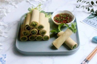 开胃凉菜绿蔬千张卷