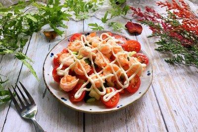虾球杂蔬沙拉