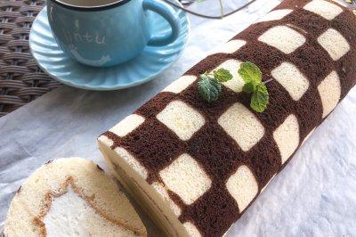 棋格奶油蛋糕卷