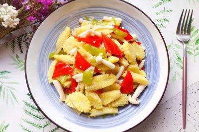 白玉菇炒玉米笋