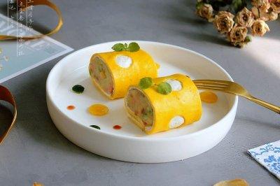 早餐小食波点蛋卷土豆泥沙拉