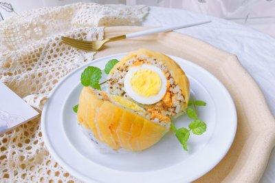 剩饭好去处蜜桃鸡蛋饭团
