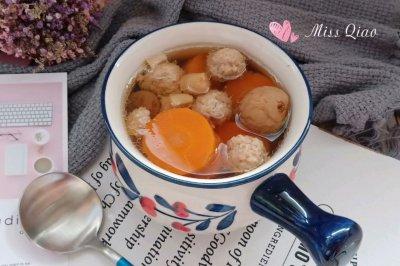 胡萝卜小肉丸霸王花汤