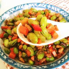胡萝卜毛豆炒肉丁